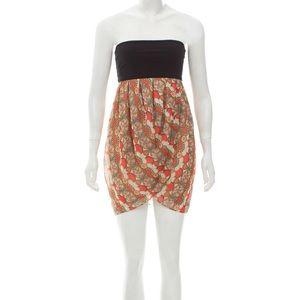 Alice + Olivia Deco Print Strapless Mini Dress EUC